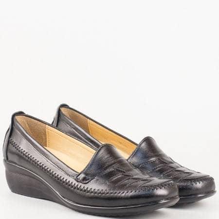 Дамски ежедневни обувки, тип мокасина, произведени от изцяло естествена кожа, включително и стелката в черен цвят n013ch