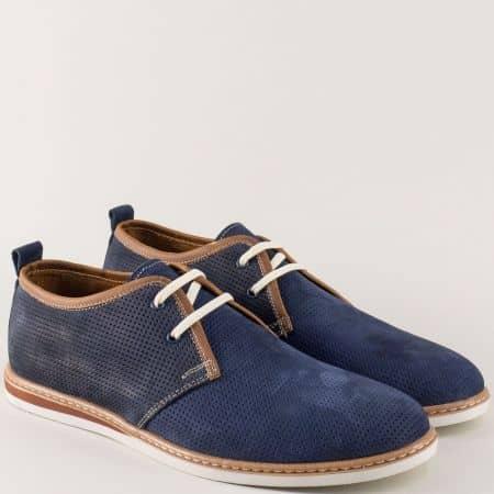 Перфорирани мъжки обувки от син естествен набук n03ns