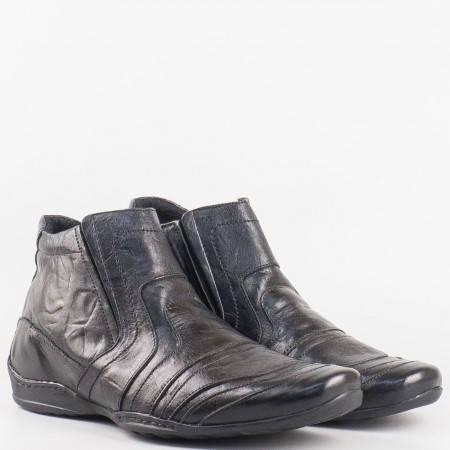Мъжки комфортно боти произведени от висококачествена естествена кожа на български производител в черен цвят n8502ch