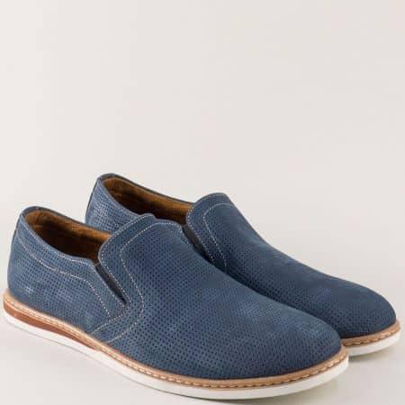 Шити мъжки обувки от естествен набук в син цвят n080ns