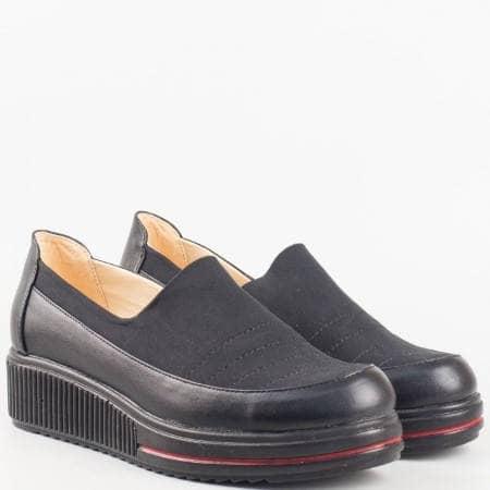 Дамски обувки за всеки ден в комбинация от еко кожа и стреч материал в черен цвят n104sch