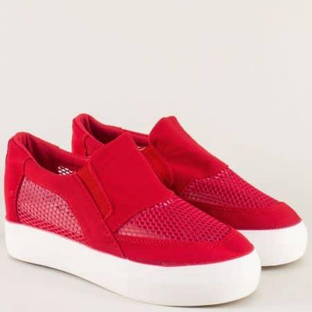 Червени дамски обувки с дупки на комфортна платформа n107chv