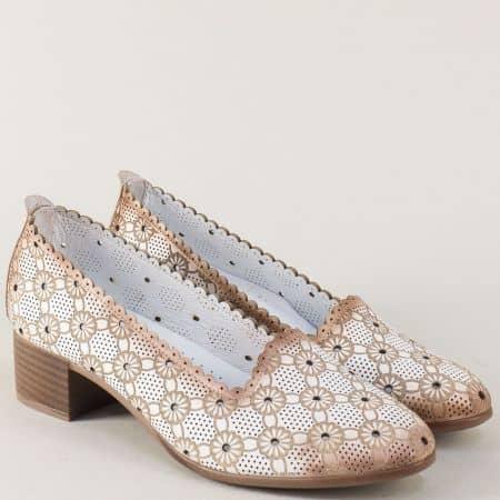 Дамски обувки от естествена кожа в бяло на нисък ток n112b