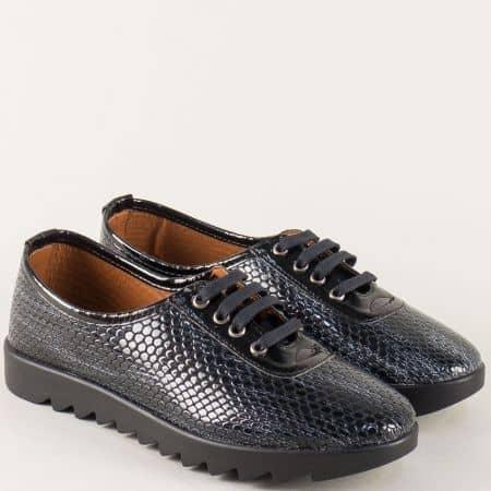 Лачени дамски обувки със змииски принт в черно и сиво n120krsv