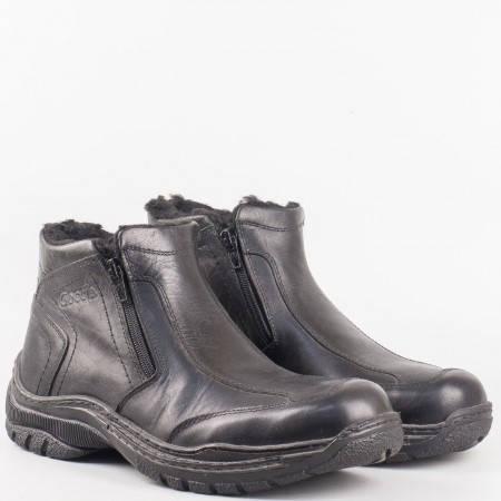 Мъжки комфортни боти произведени от висококачествена естествена кожа в черен цвят n130ch