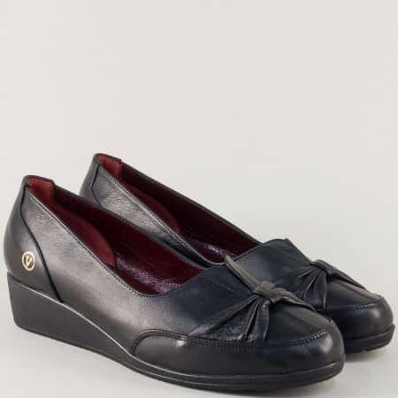 Дамски обувки на клин ходило от черна естествена кожа n133gch