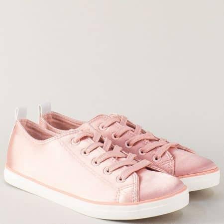 Розови дамски обувки със спортна визия на равно ходило n1416srz