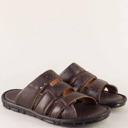 Тъмно кафяви мъжки чехли със стелка от естествена кожа n1425kk