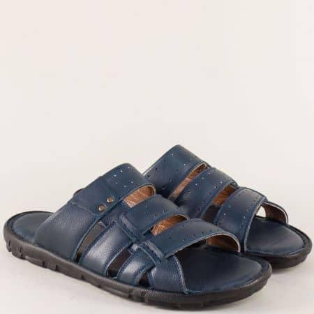 Равни мъжки чехли от естествена кожа в син цвят n1425s