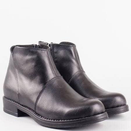 Дамски черни ежедневни боти от естествена кожа на водещ български производител  n152ch