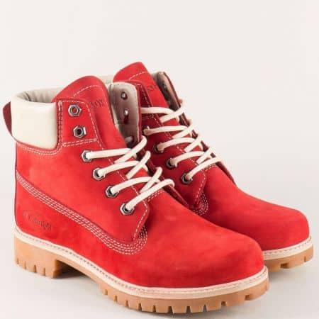 Червени дамски боти от естествен набук на удобно грайферно ходило  n16nchv