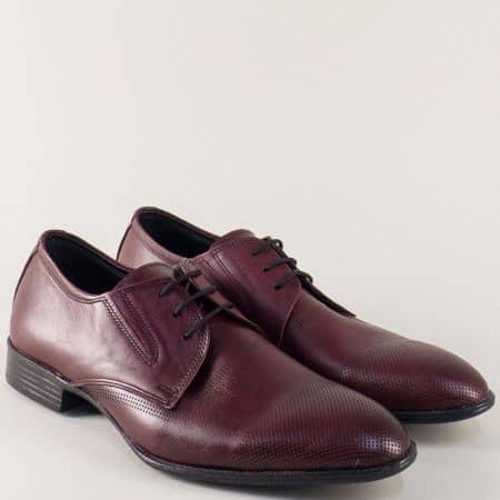 Кожени мъжки обувки с два ластика и връзки в цвят бордо n171bd