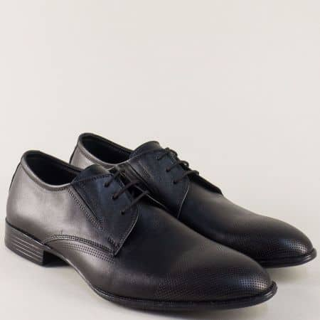 Кожени мъжки обувки в черен цвят на комфортно ходило n171ch