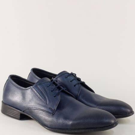 Кожени мъжки обувки с връзки и два ластика в син цвят  n171s