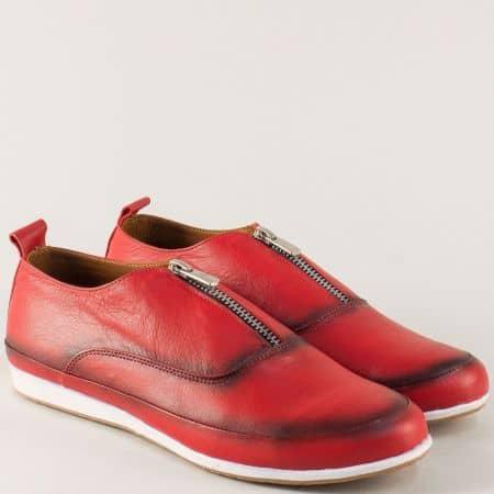 Спортни дамски обувки в червен цвят с кожена стелка n195chv