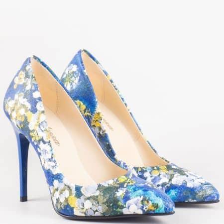 Сини елегантни дамски обувки с цветен принт  n2015sps