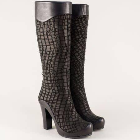 Дамски ботуши от естествена кожа на висок ток в черно n216ch