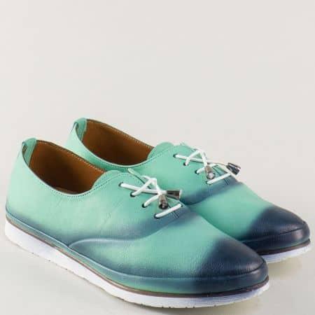 Зелени дамски обувки с кожена стелка и ластични връзки m265z