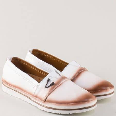 Дамски обувки от бяла естествена кожа и кожена стелка n268b