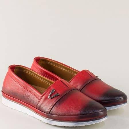 Равни дамски обувки от червена естествена кожа с ластик n268chv