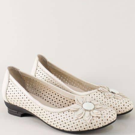 Бежови дамски обувки от естествена кожа с перфорация n280bj