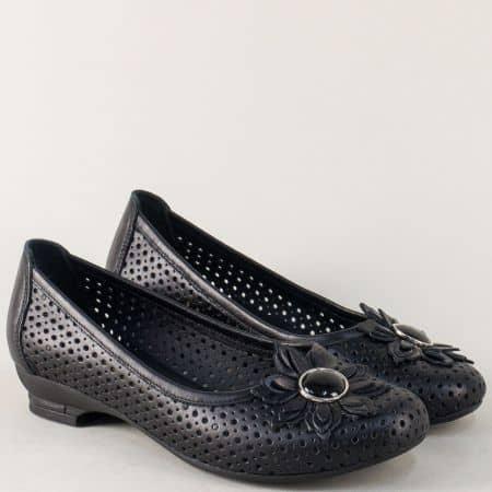 Черни дамски обувки с кожена стелка и перфорация n280ch