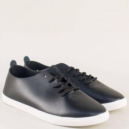 Черни дамски обувки на комфортно равно ходило и връзки n317ch