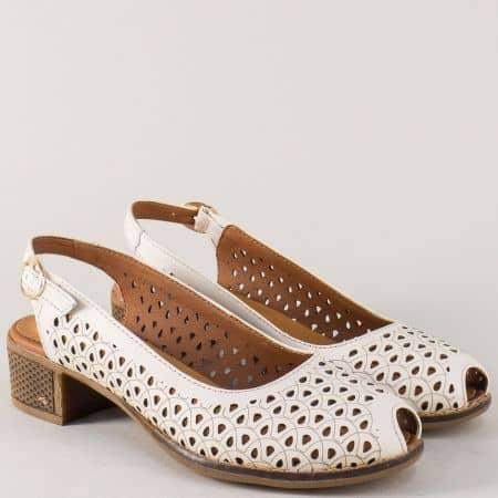 Бежови дамски обувки от естествена кожа на среден ток с перфорация n323bj