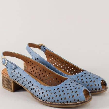 Дамски обувки от естествена кожа в синьо на среден ток n323s