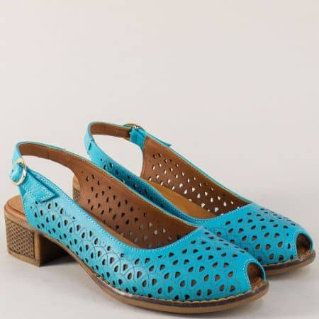 Сини дамски обувки на каучуково ходило със среден стабилен ток n323ss