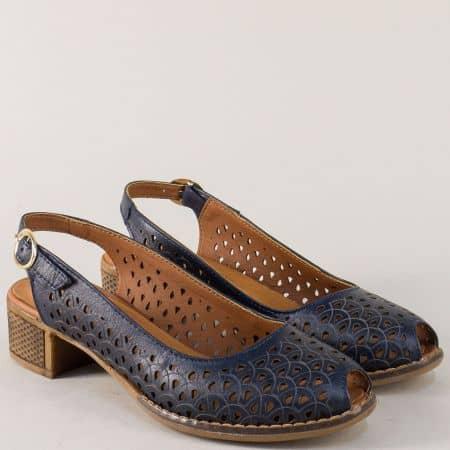 Тъмно сини дамски обувки от естествена кожа на среден ток n323ts