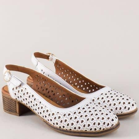 Кожени дамски обувки в бяло от естествена кожа на среден ток n324b