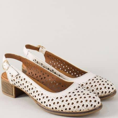 Бежови дамски обувки с отворена пета и ходило от каучук n324bj