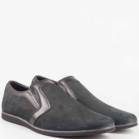 Мъжки ежедневни обувки от 100% естествени материали - набук и кожа в черен цвят n41nch