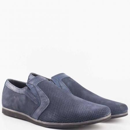 Мъжки ежедневни обувки произведени от висококачествен естествен набук в син цвят n41nzs