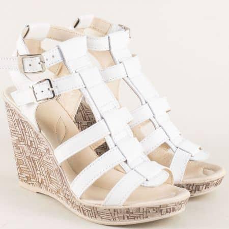 Бели дамски сандали от естествена кожа на висока платформа n75b