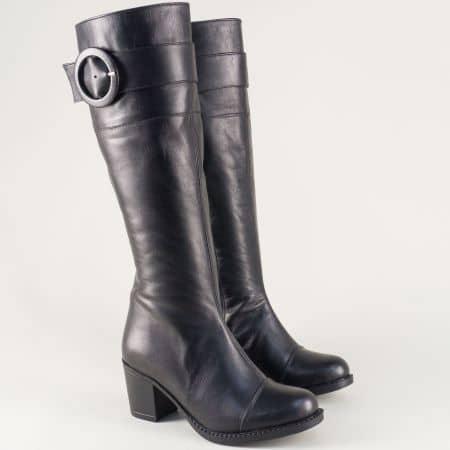 Дамски ботуши от естествена кожа в черен цвят на среден ток n80ch