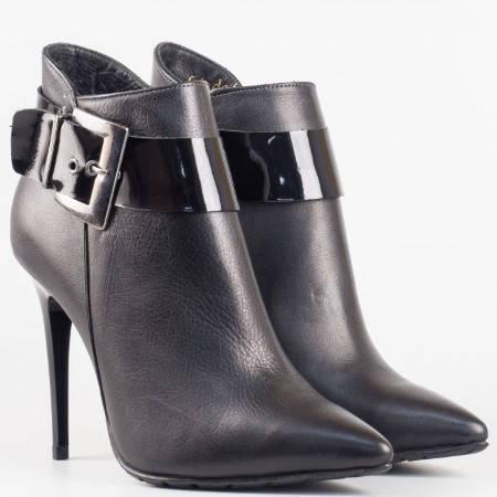 Дамски елегантни боти от естествена кожа на висок ток в черен цвят n900ch