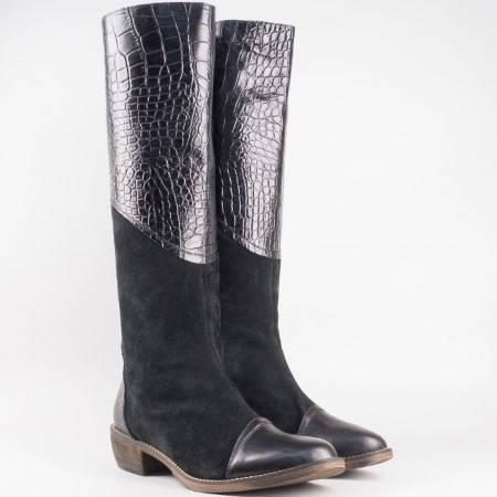 Дамски модерни ботуши изработени от висококачествен естествен велур и кожа на български производител в черен цвят nn1401ch