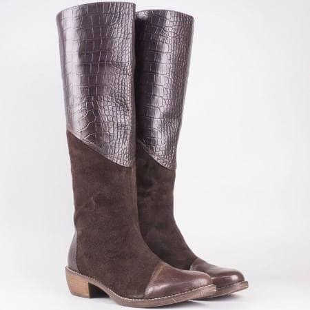 Дамски български ботуши на удобно шито ходило от естествена кожа и велур в кафяв цвят nn1401k