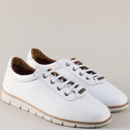 Равни дамски обувки от бяла естествена кожа с връзки nn16b