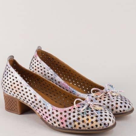 Пъстри дамски обувки на среден ток от естествена кожа nn21ps