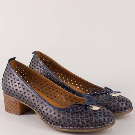 Сини дамски обувки на каучуково ходило с кожена стелка nn21s