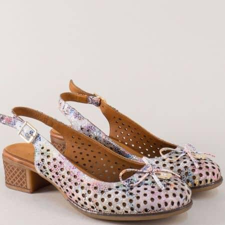 Пъстри дамски обувки на среден ток от естествена кожа nn22ps