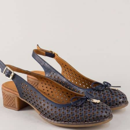 Тъмно сини дамски обувки на среден ток от естествена кожа nn22s
