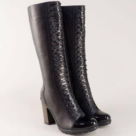 Дамски ботуши от черна естествена кожа на висок ток nn60ch