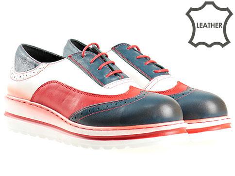 Ортопедични дамски обувки с връзки, изработени от висококачествена естествена кожа в свежа цветова гама 506ps