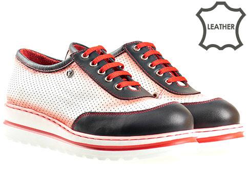Ортопедични дамски обувки с връзки, изработени от висококачествена перфорирана естествена кожа в свежа цветова гама 508bs