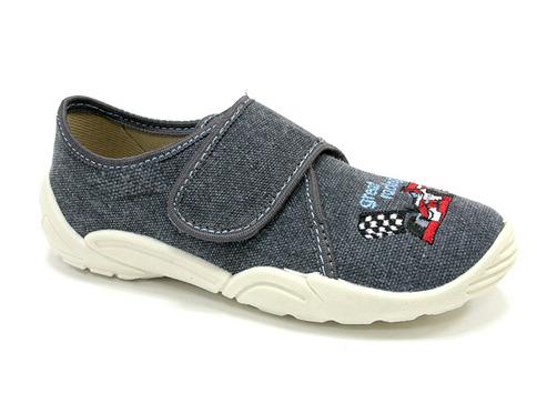 Детски текстилни обувки, тип пантофки с лепенка в син цвят 23373sv