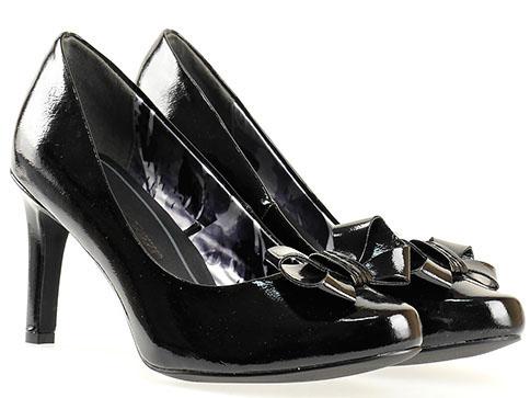 Немски обувки на висок ток Marco Tozzi, изработени от висококачествен черен еко  лак 222404lch